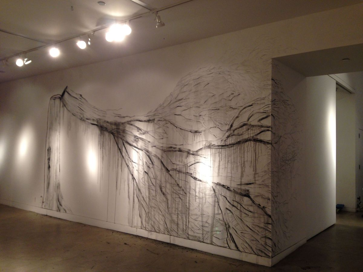 Melted tree on wall at Aicon gallery, NY